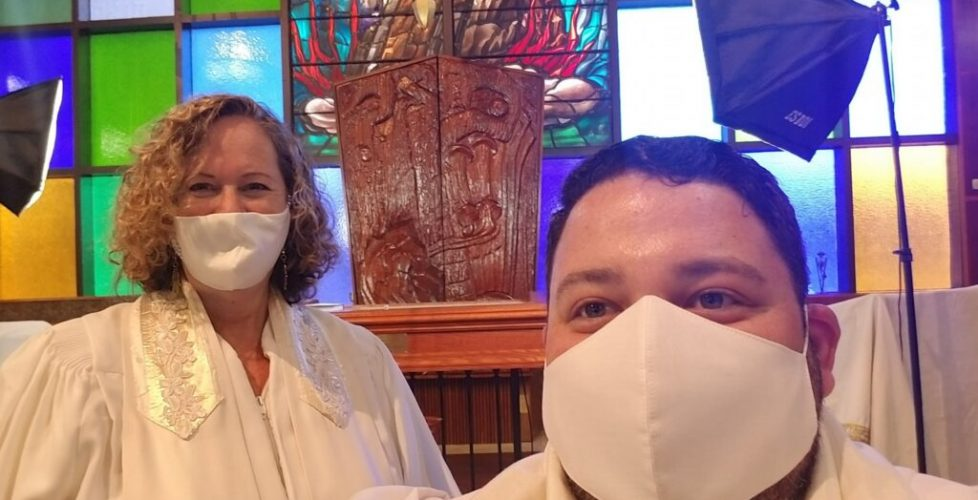 rabbi and cantor in masks for HHD